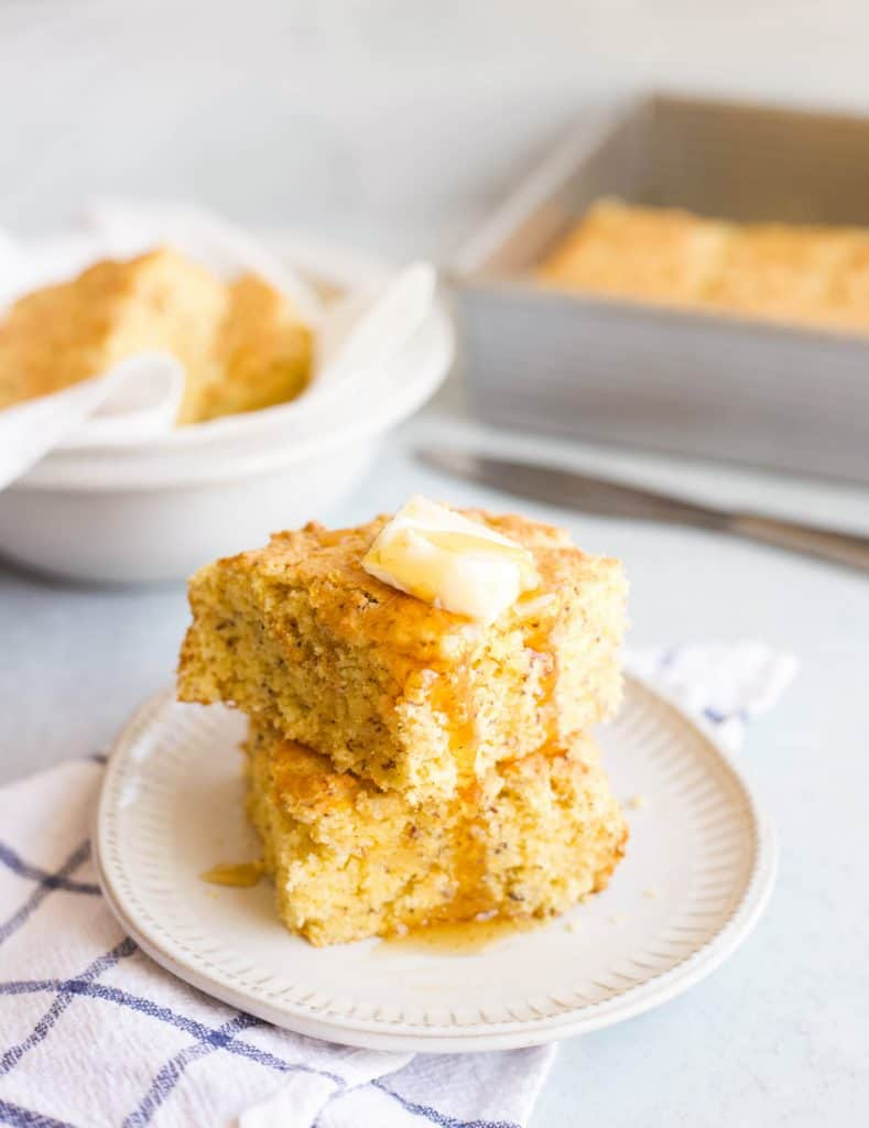 two pieces of eggless cornbread stacked
