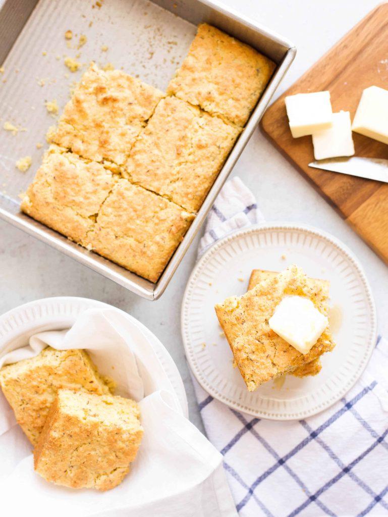 eggless cornbread cut into slices