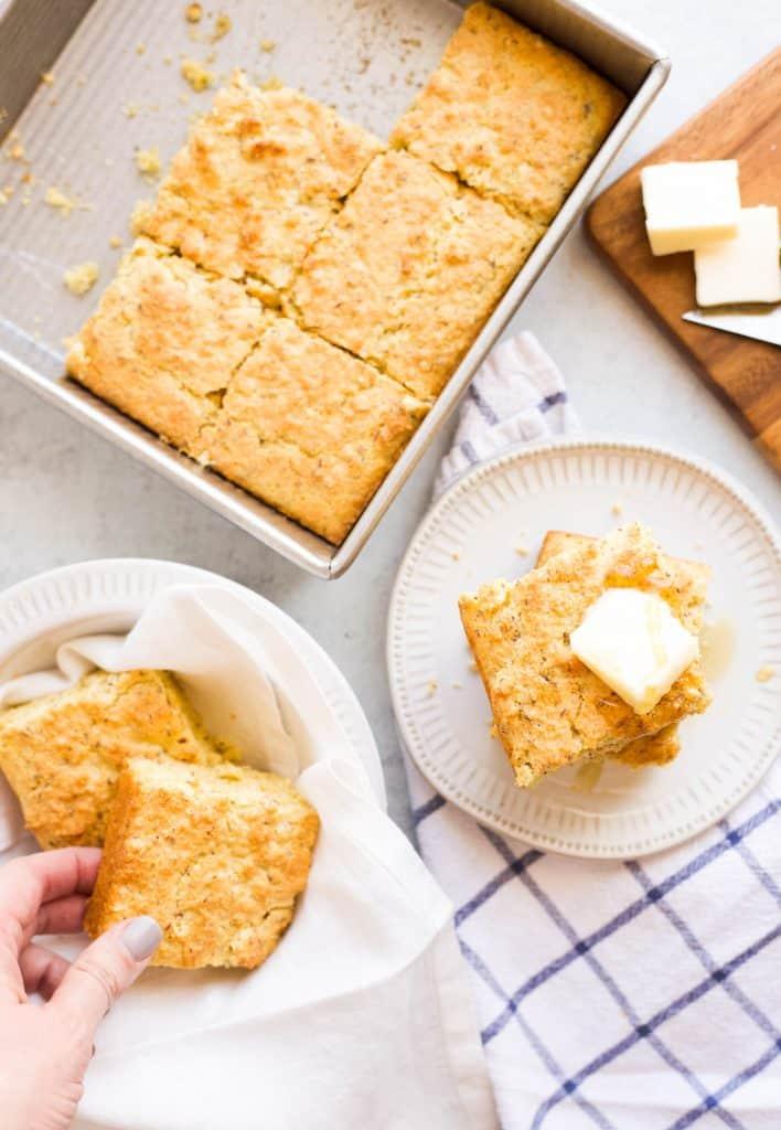 eggless cornbread in pan