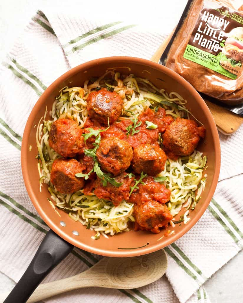 vegetarian meatballs and zoodles