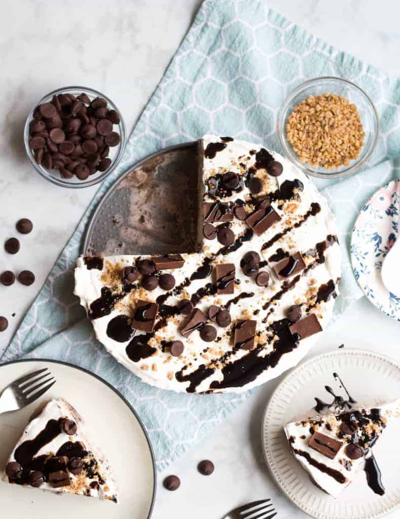 Cookies and Cream Ice Cream Cake being served