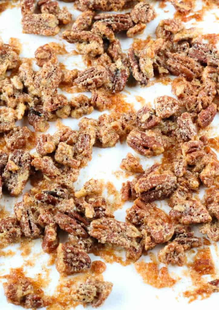 candied pecans on a pan