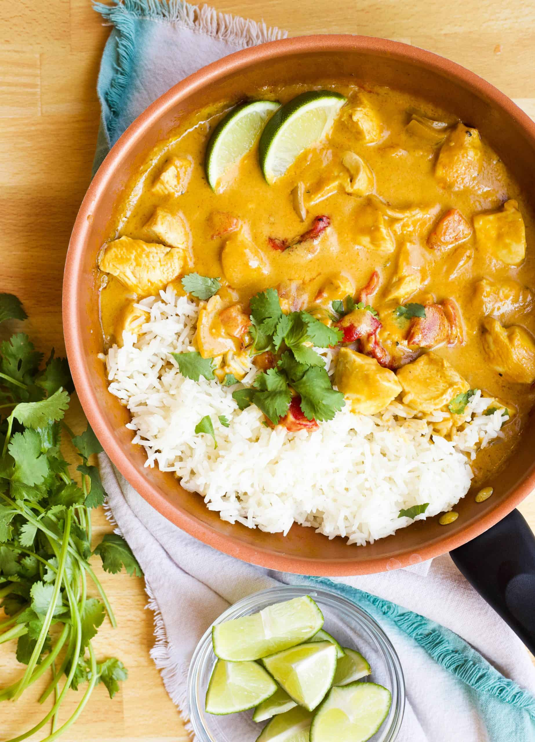Yellow Chicken Curry with Roasted Red Pepper