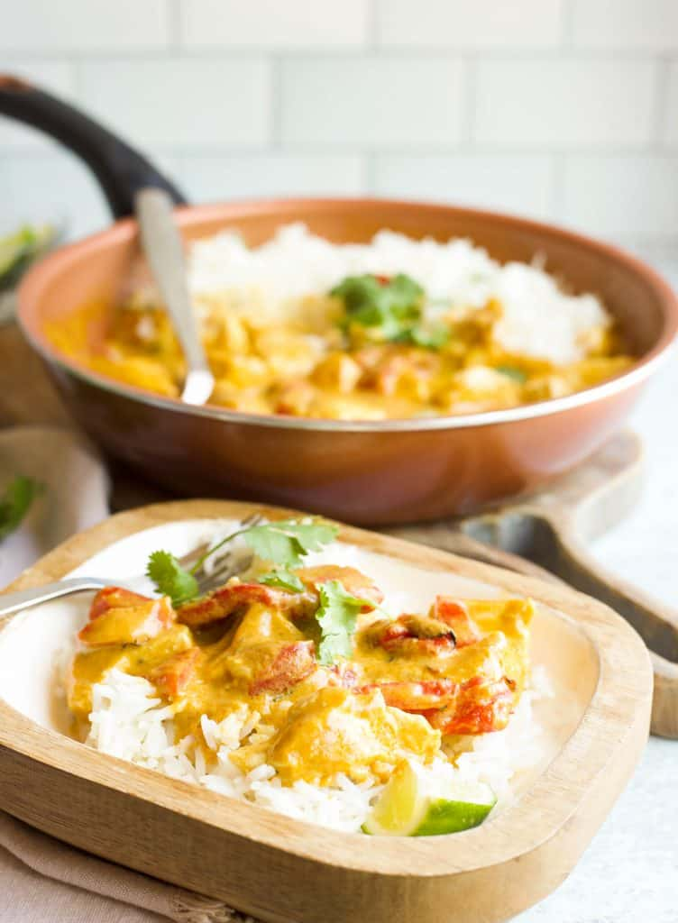 yellow chicken curry with roasted red peppers